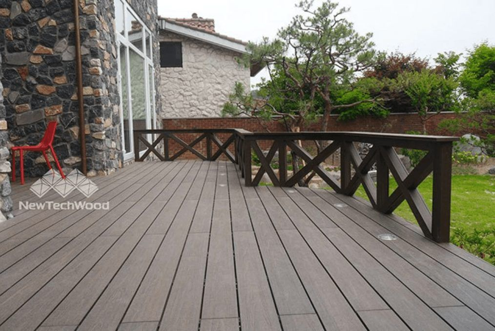 freedom to match backyard composite decking with partial railing