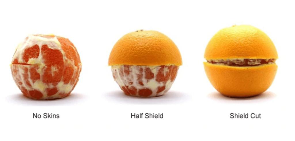 no skins, half shield, shield cut