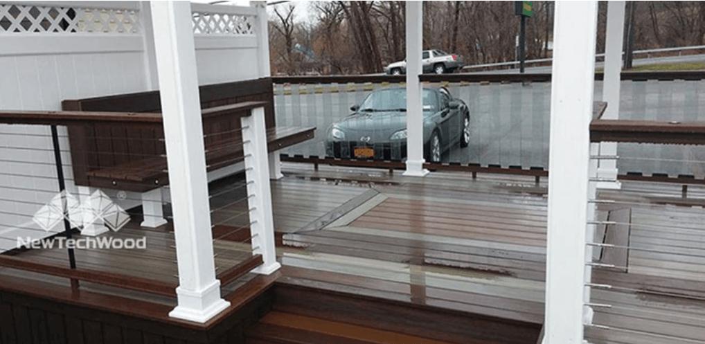 car parked behind deck